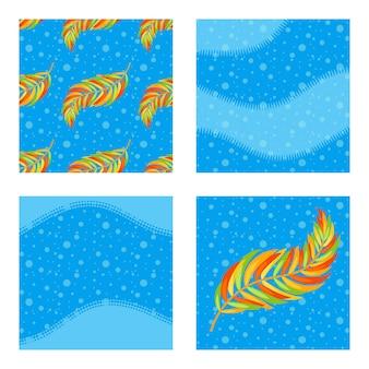 Il set di motivi colorati e sfondi con foglie