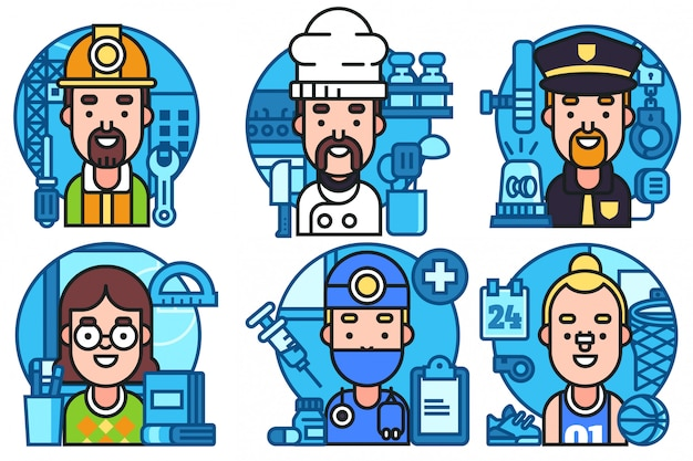 Set di icone colorate professioni