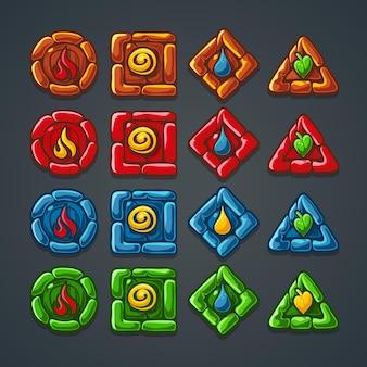 Una serie di pulsanti in pietra colorata per un gioco per computer