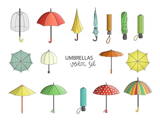 Set di ombrelli colorati isolato
