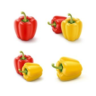 Insieme dei peperoni dolci bulgari dolci gialli e rossi colorati, paprica isolata su fondo bianco