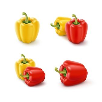 Insieme dei peperoni dolci bulgari dolci gialli e rossi colorati, paprica isolata su bianco