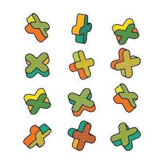 Insieme di elementi 3d colorati in stile pop art.