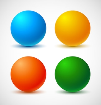 Set di palline colorate.