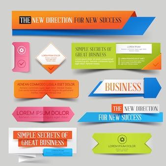 Set di banner colorati per sito web aziendale, vendita o sconti.