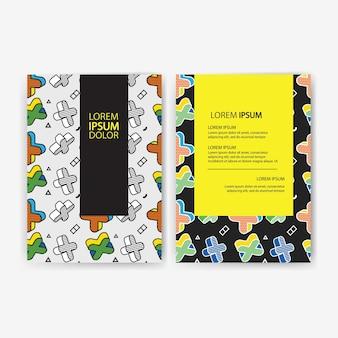 Set di striscioni colorati, dimensioni a4, decorazione con motivo senza cuciture, motivo colorato con grafica 3d in stile pop art.
