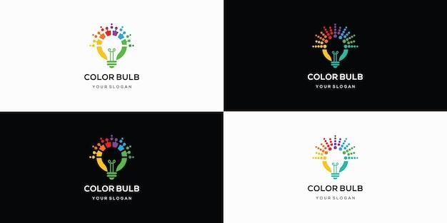 Set di design del logo della lampadina colorata