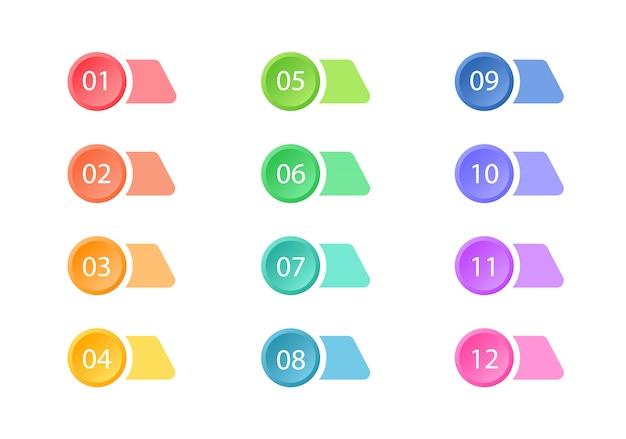 Set di punti elenco colorati. pulsanti web. elementi.