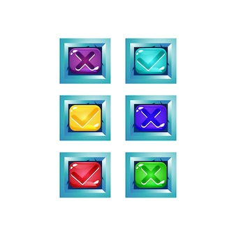 Set di pulsanti colorati sì e no gelatina di segni di spunta con bordo lucido