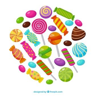 Set di caramelle colorate in stile piano