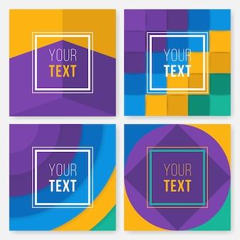 Set di schede colorate. poster moderna astratta di design, copertina, disegno di carta. trendy geometric. retro struttura di stile, pattern e elementi geometrici.