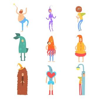 Insieme delle illustrazioni di personaggi colorati su sfondo bianco