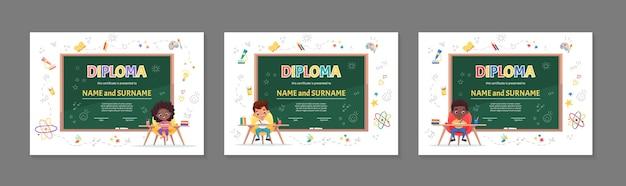 Set di certificato di diploma di bambini colorati per la scuola materna o scuola materna elementare con bambini carini che si siedono al tavolo e rendono piatto il fumetto dei compiti