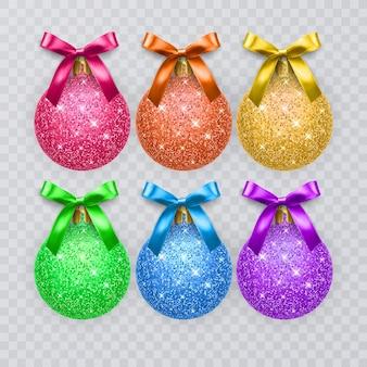 Set di palline di natale colorate scintillanti texture con fiocchi realistici