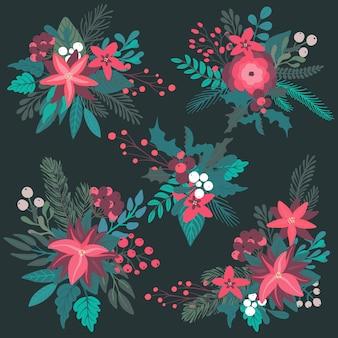Set di mazzi floreali di natale colorati con bacche di rami di fiori invernali