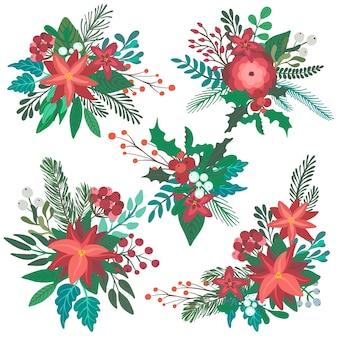 Set di mazzi floreali di natale colorati