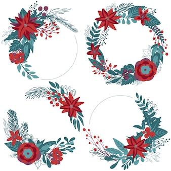 Set di colorate ghirlande floreali di natale con bacche di rami di fiori invernali