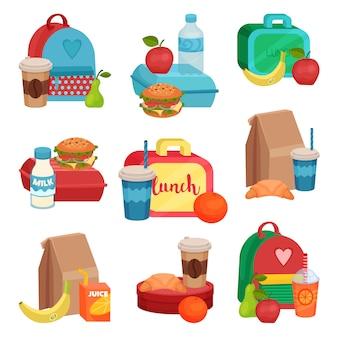 Set di composizioni colorate con il cibo della scuola. pasto gustoso. frutti deliziosi, bevande e panini