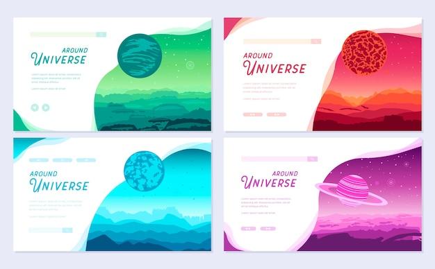 Set di copertine colorate con diversi pianeti e dintorni. banner web, intestazione ui, inserisci sito.