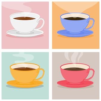 Set di tazze di caffè colorate