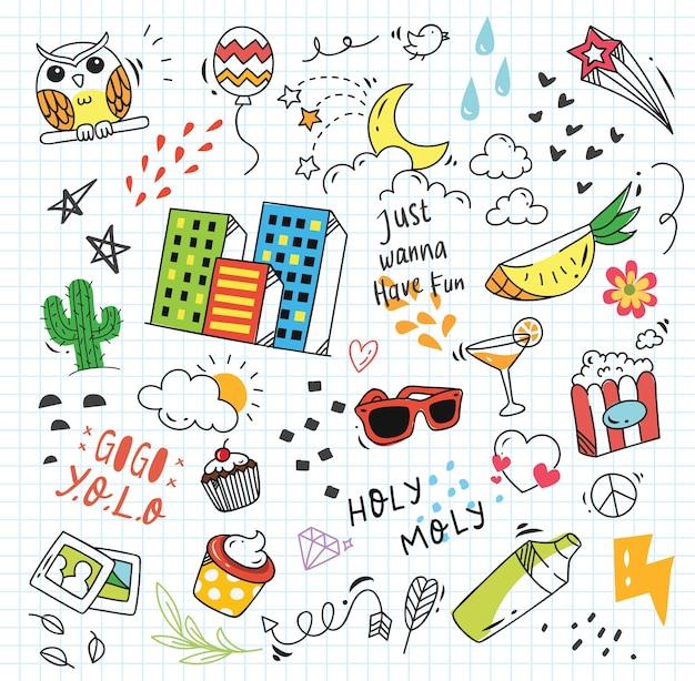 Insieme di doodle colorato su fondo di carta