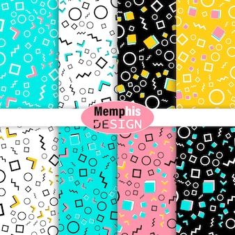 Set di coloratissimi doodle seamless patterns.