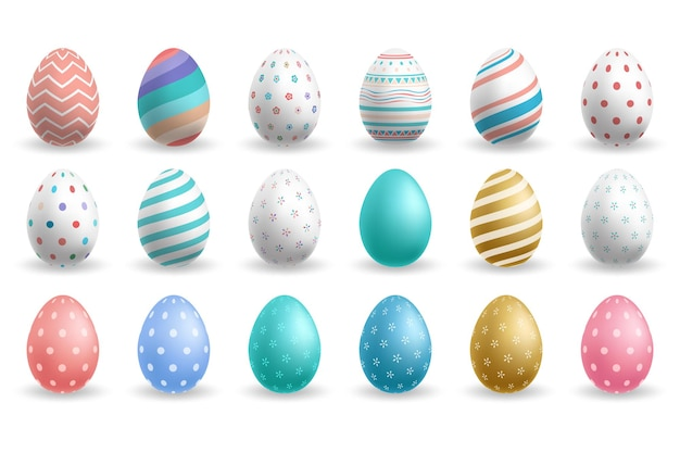 Set di uova di pasqua colorate isolato su bianco