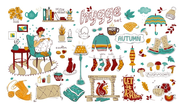Un insieme di elementi colorati sul tema dell'hygge, dell'autunno e di una casa accogliente. raccolta di elementi di design disegnati a mano isolato su uno sfondo bianco. per il tuo design.