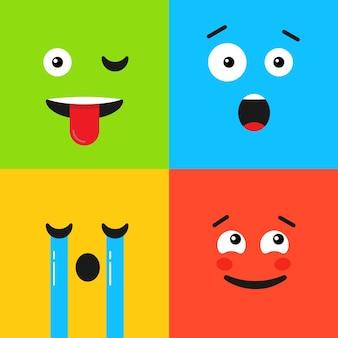 Set di emoticon colorate. motivo di sfondo con emoji. illustrazione vettoriale in stile piatto. faccina triste, pianto e sorpresa.