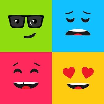 Set di emoticon colorate. motivo di sfondo con emoji. illustrazione vettoriale in stile piatto.