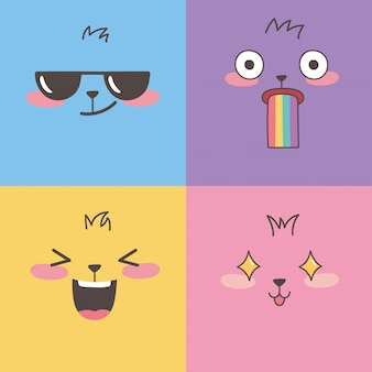 Set di emoticon colorate, emoji facce design cartoon espressione