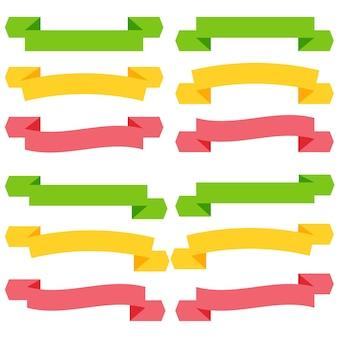 Set di nastri e striscioni vuoti colorati. pronto per il tuo testo o design. illustrazione vettoriale isolato.