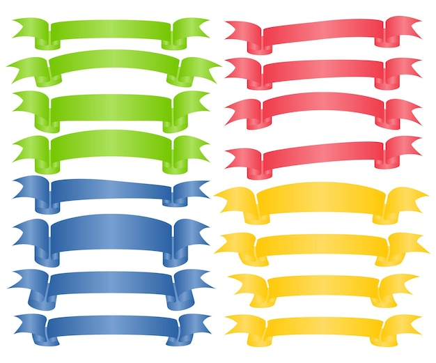Set di nastri vuoti colorati e striscioni con curve. pronto per il tuo testo o design. illustrazione vettoriale isolato.