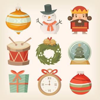 Set di adesivi piatti colorati e icone decorazioni natalizie