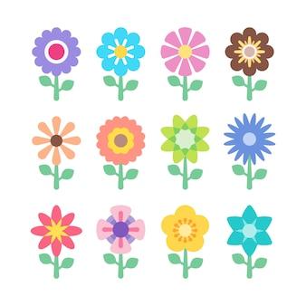 Set di icone colorate di fiori. elemento astratto colorato floreale. design premium