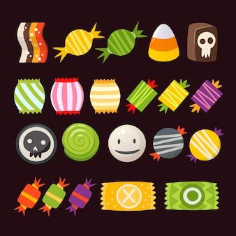 Set di coloratissimi dolci di halloween per bambini. caramelle di vettore decorate con elementi di halloween.
