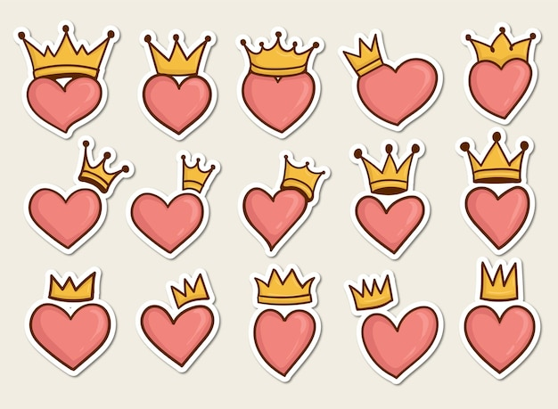Set di simboli di cuori colorati disegnati a mano con corona su di esso