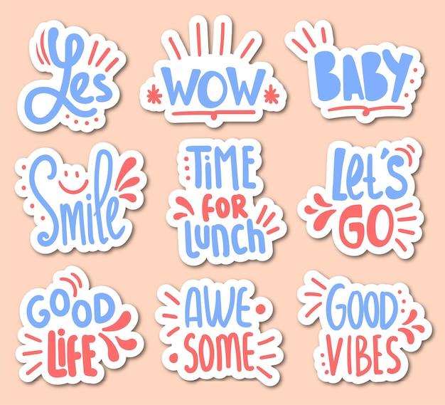 Set di adesivi colorati con scritte motivazionali disegnate a mano
