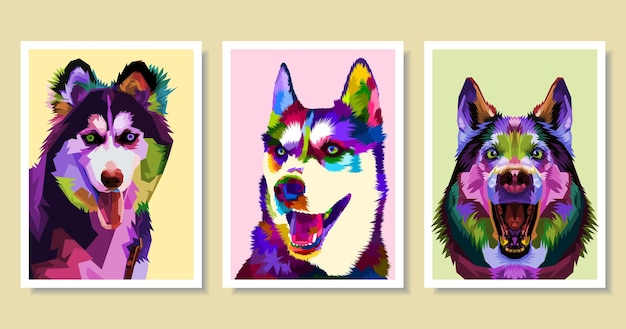 Set di cani husky colorati in stile pop art.