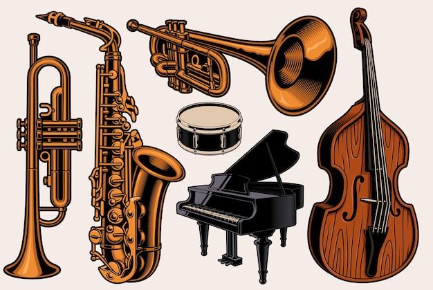 Serie di illustrazioni colorate di diversi strumenti musicali