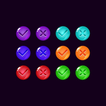 Set di pulsante ui gioco gelatina colorata con segni di spunta per elementi di asset gui