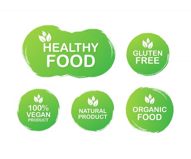 Impostare etichette colorate per alimenti, nutrizione. icone di raccolta. alimenti sani, senza glutine, 100 alimenti vegani, prodotti naturali, alimenti biologici. .