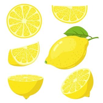 Set di disegni colorati di limone