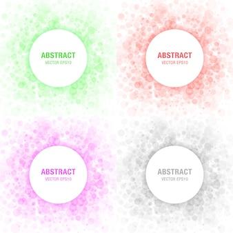 Set di elementi di design per cornici di cerchi astratti di luce colorata, cosmetici, sapone, shampoo, profumo, fondo dell'etichetta del medicamento