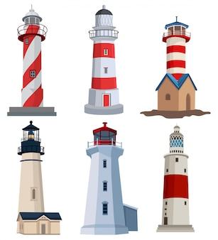 Set di fari colorati. collezione di edifici per l'identificazione della riva per evitare pericoli.