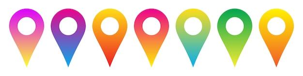 Set di icone di posizione colorate. icone del puntatore della mappa. icone di navigazione a colori. illustrazione.