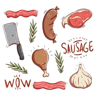 Set di prodotti a base di carne colorati con doodle o stile di tiraggio della mano