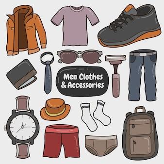 Set di vestiti e accessori da uomo colorati