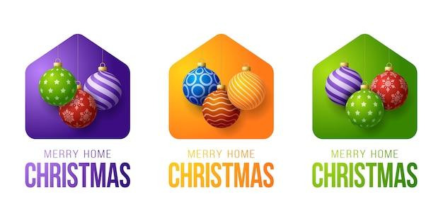 Set di coloratissimi merry home christmas con divertenti palle di natale minimalista
