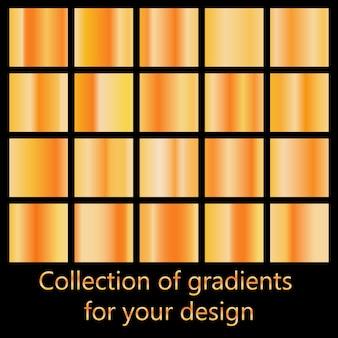 Set di sfumature di metallo colorato.